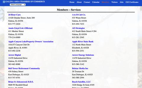 Screenshot of Services Page galenachamber.com - Members – Services | Galena Area Chamber of Commerce - captured Sept. 26, 2018