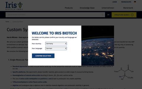 Screenshot of Services Page iris-biotech.de - Custom Synthesis - captured Oct. 15, 2017