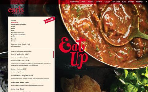 Screenshot of Menu Page theplacetov.ca - Earls Appetizers. Earls Restaurants - captured Nov. 4, 2014