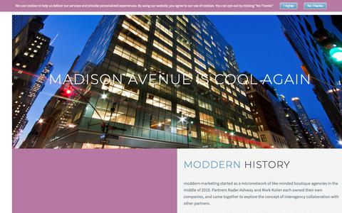 Screenshot of About Page moddern.com - The History of moddern Marketing | moddern - captured Oct. 18, 2018
