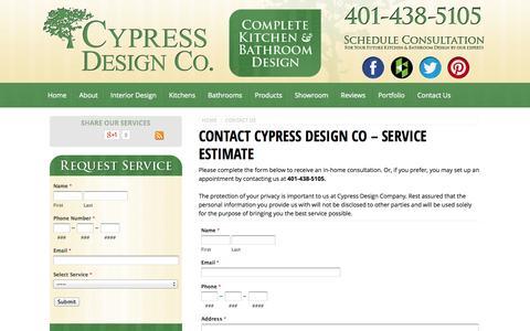 Screenshot of Contact Page cypressdesignco.com - Contact Us - Rhode Island Interior Design Specialists   Cypress Design Co. - captured Sept. 30, 2014