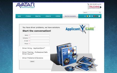 Screenshot of Contact Page avatarfleet.com - Start the Conversation - AvatarFleet - captured Oct. 4, 2014