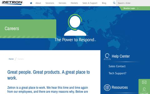 Screenshot of Jobs Page zetron.com - Careers - Zetron   Critical Communications Solutions - captured Feb. 15, 2020