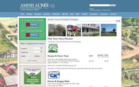 Screenshot of Pricing Page amishacres.com - Amish Acres Pricing and Packages - captured April 2, 2019