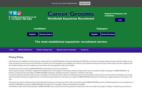 Screenshot of Privacy Page careergrooms.co.uk - Privacy Policy - Career Grooms - captured Sept. 27, 2018