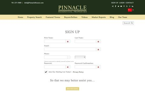 Screenshot of Signup Page pinnaclehouses.com - Welcome to Pinnacle - captured Nov. 7, 2016