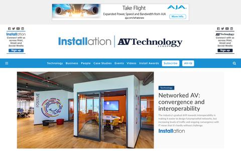 Screenshot of Home Page installation-international.com - Installation & AV Technology Europe - captured Sept. 28, 2018