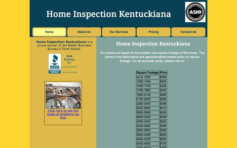 Screenshot of Pricing Page homeinspectionkentuckiana.com - HTML Template - captured Aug. 19, 2017