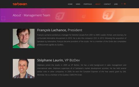 Screenshot of Team Page sarbakan.com - Management Team - captured July 26, 2018