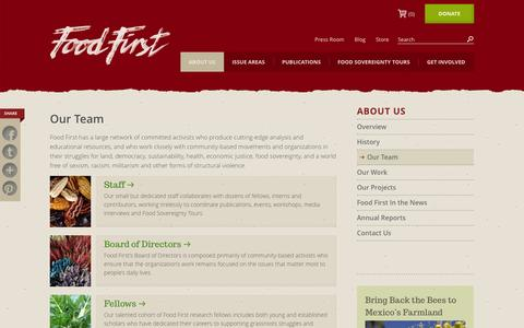 Screenshot of Team Page foodfirst.org - Our Team : Food First - captured Oct. 6, 2014
