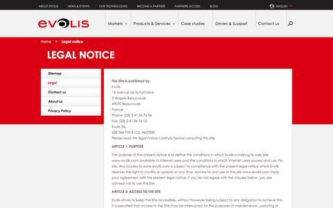 Screenshot of Terms Page evolis.com - Legal notices | Evolis - captured July 21, 2018