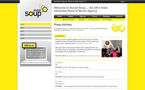 Screenshot of Press Page socialsoup.co.uk - Social Soup in the Press - Word of Mouth Marketing - captured Oct. 26, 2014