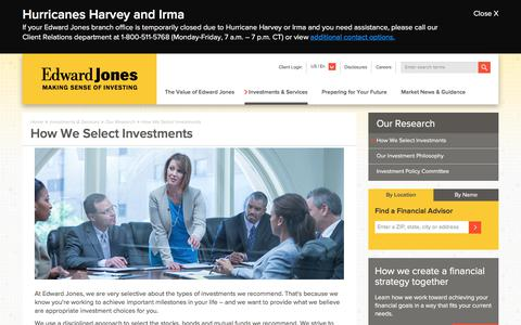How We Select Investments | Edward Jones