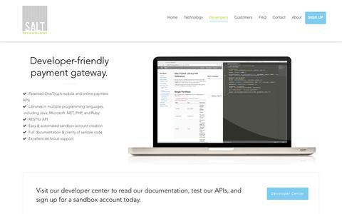 Screenshot of Developers Page salt.com - Developers | Salt - captured Sept. 29, 2017