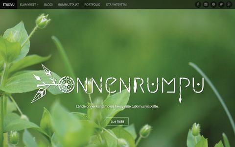 Screenshot of Home Page onnenrumpu.fi - Onnenrumpu | Lähde onnenkantamoisia hersyvälle tutkimusmatkalle. - captured Sept. 4, 2015