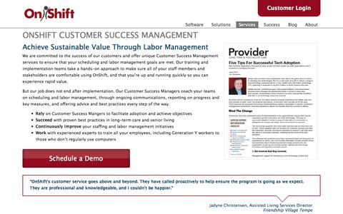 Screenshot of Services Page onshift.com - OnShift Customer Success Management | OnShift - captured Sept. 12, 2014