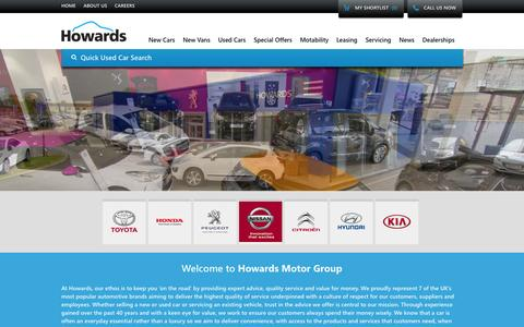 Screenshot of Home Page howardsgroup.co.uk - Howards Motor Group | New and Used Cars for Sale - captured Sept. 30, 2014