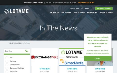 Screenshot of Press Page lotame.com - In The News Archives | LOTAME - captured Oct. 26, 2017