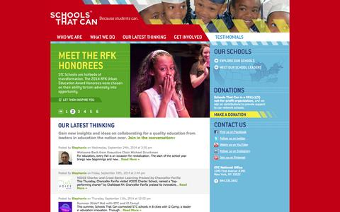 Screenshot of Home Page schoolsthatcan.org - Schools That Can - captured Oct. 2, 2014