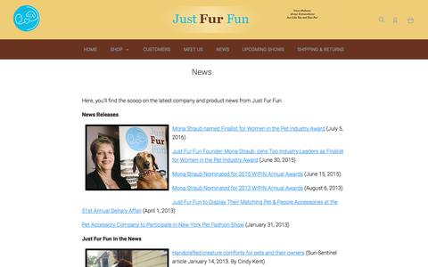 Screenshot of Press Page justfurfunonline.com - In  The News - captured Oct. 16, 2017