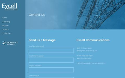 Screenshot of Contact Page excellcommunications.com - Excell Communications |   Contact Us - captured Sept. 30, 2018