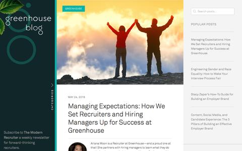 Screenshot of Blog greenhouse.io - Recruiting Software - Applicant Tracking System | Greenhouse Software - captured May 25, 2016