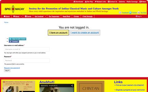 Screenshot of Login Page spicmacay.com - | SPIC MACAY - captured Sept. 30, 2014