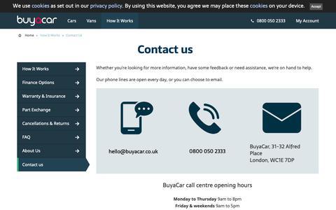 Screenshot of Contact Page buyacar.co.uk - Contact us   BuyaCar - captured Dec. 17, 2018