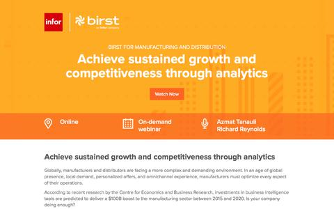 Screenshot of Landing Page infor.com - Achieve sustained growth and competitiveness through analytics - captured April 14, 2018
