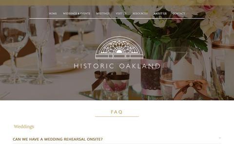 Screenshot of FAQ Page historic-oakland.com - FAQ About Weddings, Events & Meetings at Historic Oakland - captured June 22, 2016