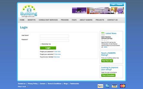 Screenshot of Login Page buildingratings.com.au - CBD | Nabers Rating | Nabers Ratings | Building Rating | Building Ratings - captured Oct. 5, 2014