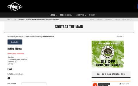 Screenshot of Contact Page themainmtl.com - Contact The Main | The Main MTL - captured Nov. 3, 2014