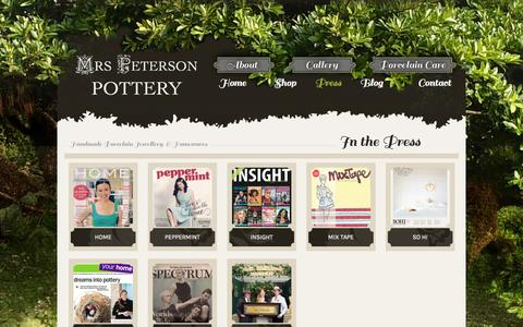Screenshot of Press Page mrspetersonpottery.com - Press «  Mrs Peterson Pottery - captured Oct. 26, 2014