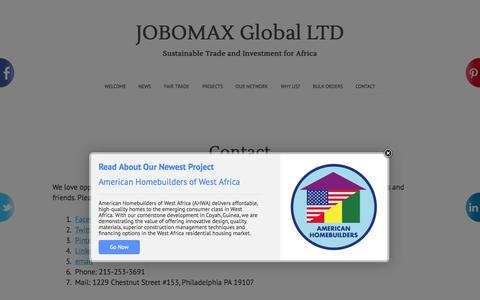 Screenshot of Contact Page jobomax.com - Contact JOBOMAX - captured Oct. 27, 2014