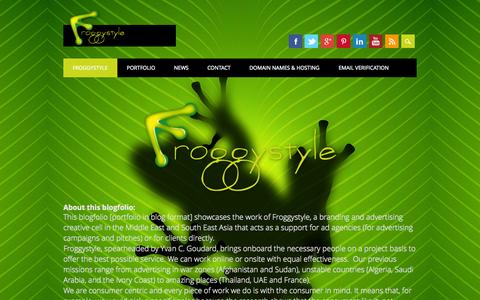 Screenshot of Home Page froggystyle.biz - About Froggystyle - captured Sept. 26, 2014