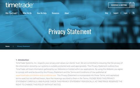 Screenshot of timetrade.com - Privacy Statement | TimeTrade - captured Feb. 15, 2017