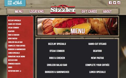 Screenshot of Menu Page sizzler.com - Menu - Sizzler - captured Sept. 19, 2014