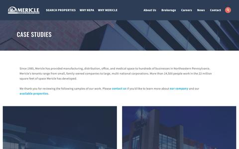 Screenshot of Case Studies Page mericle.com - Case Studies | Mericle Commercial Real Estate Services - captured Oct. 17, 2018