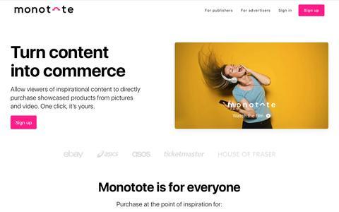 Screenshot of Home Page monotote.com - Home - Monotote - captured July 9, 2018