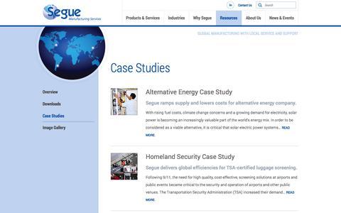Screenshot of Case Studies Page segue-mfg.com - Customer Case Studies | Segue - captured Oct. 27, 2014