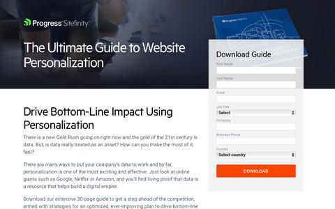 Screenshot of Landing Page progress.com - Ultimate Guide to Personalization | Progress Sitefinity - captured July 17, 2019