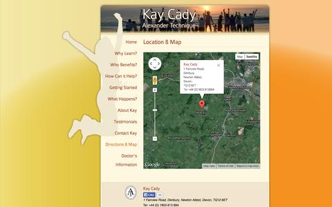 Screenshot of Maps & Directions Page kaycady.co.uk - Directions & Map to Kay Cady's Alexander Technique Teaching Premises - captured Oct. 27, 2014