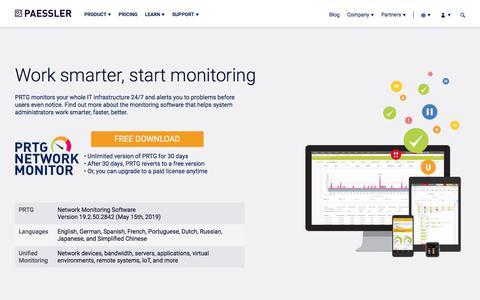 Screenshot of Home Page paessler.com - Paessler AG - The Monitoring Company - Producer of PRTG - captured June 26, 2019