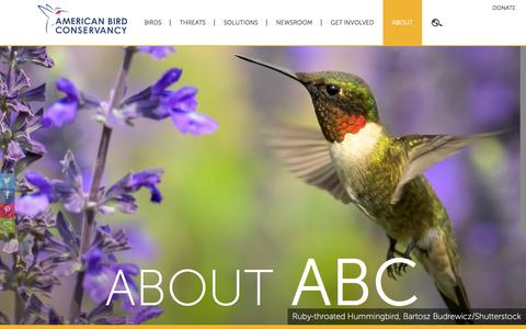 Screenshot of About Page abcbirds.org - About | American Bird Conservancy - captured Sept. 4, 2016