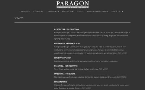 Screenshot of Services Page paragonlandscape.com - Services - Paragon Landscape Construction, Inc. - captured March 11, 2016