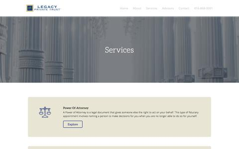 Screenshot of Services Page legacyprivatetrust.com - Legacy Private Trust: Services - captured July 17, 2018