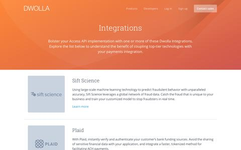 Screenshot of dwolla.com - Dwolla Integrations - captured Aug. 28, 2017