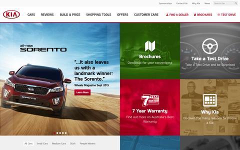Screenshot of Home Page kia.com.au - Kia Cars from Kia Motors Australia - captured Oct. 1, 2015