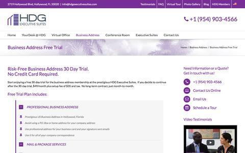 Screenshot of Trial Page hdgexecutivesuites.com - Business Address Free Trial - HDG Executive Suites - captured Dec. 6, 2015