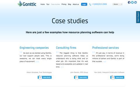 Screenshot of Case Studies Page ganttic.com - Organisations benefit from resource planning software - captured Sept. 24, 2014